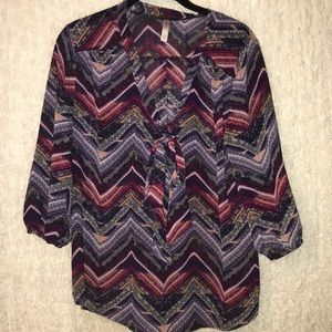 Chevron Print Flowy Top